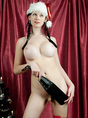 European T-girl is a naughty Santa just in time for this Holiday Season